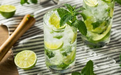 Refreshing Mint and LIme Mojitos with Rum and Soda Water